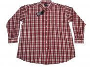 Karo-Hemd langarm in Übergröße 5XL Rot-Weiss