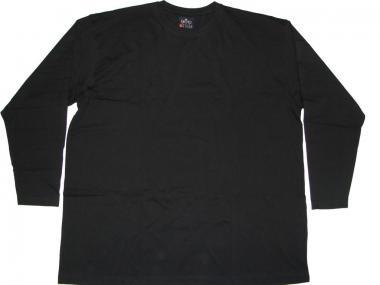 T-Shirt Langarm in Übergröße  Schwarz