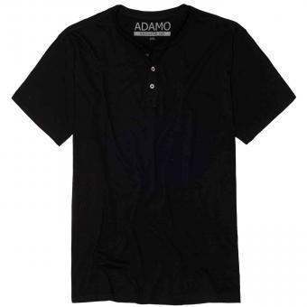 T-Shirt mit Knopfleiste in Übergröße  Schwarz
