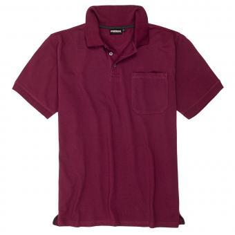 Polo-Shirt mit Brusttasche in Übergröße Bordeaux