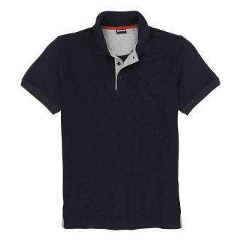 Polo-Shirt ohne Brusttasche in Übergröße Schwarz