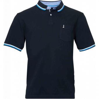 Polo-Shirt kurzarm in Übergröße 7XL Schwarz