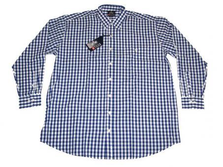 Karo-Hemd Langarm in Übergrößen 4XL Blau-Weiß