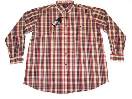 Karo-Hemd Langarm in Übergrößen 6XL  Rot-Beige