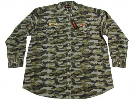 Camouflage Hemd langarm in Übergröße