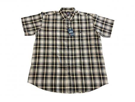 Hemd kurzarm in Übergröße 10XL Schwarz-Grau