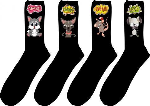 4 paar Gesundheits-Socken mit Comic-Druck Größe 47-50