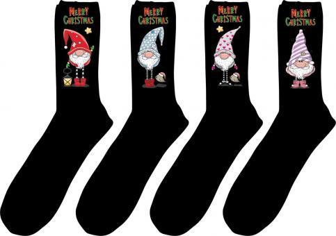 4 paar Gesundheits-Socken mit Weihnachts-Druck Größe 47-50