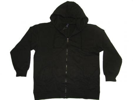 Kapuzen-Sweat-Jacke in Übergröße Schwarz