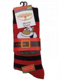 2 paar Weihnachts-Socken Motiv Rot Geringelt