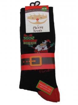 2 paar Weihnachts-Socken Motiv Schwatz