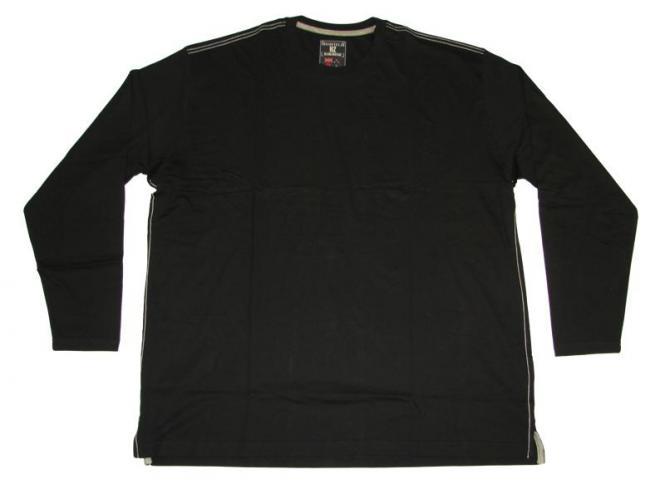 T-Shirt langarm in Übergröße 5XL Schwarz