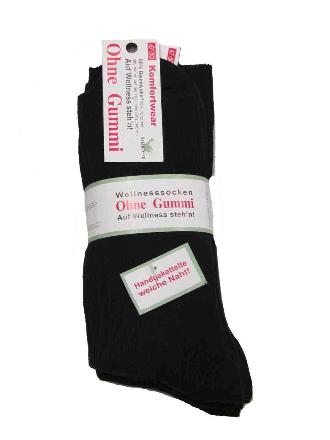 0653f64267c260 5 paar Welness-Socken in Übergröße Schwarz Größe 47-50